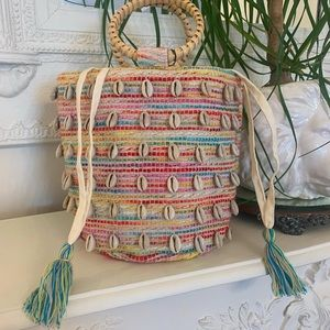 Cowrie Puka Shell Multicolor Mini Bucket Bag